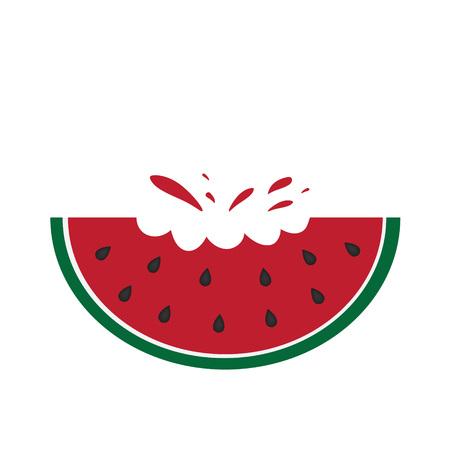 Bitten watermelon fruit icon.