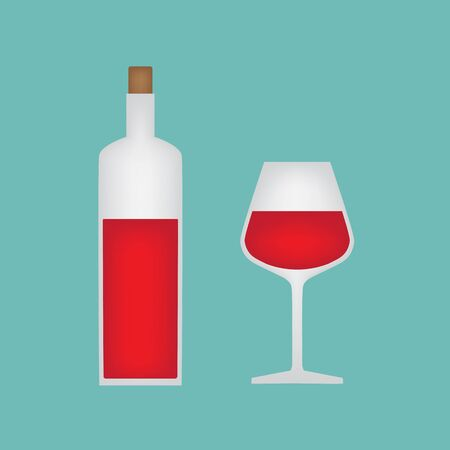 A glass and bottle of red wine vector illustration.