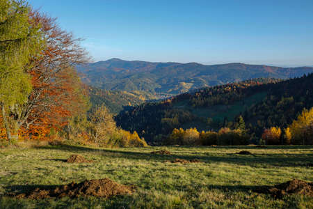 Beautiful autumn landscape of Gorce Mountains, Poland