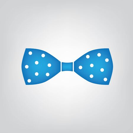 blue polka dot bow tie icon- vector illustration