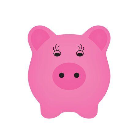 pink piggy bank icon- vector illustration