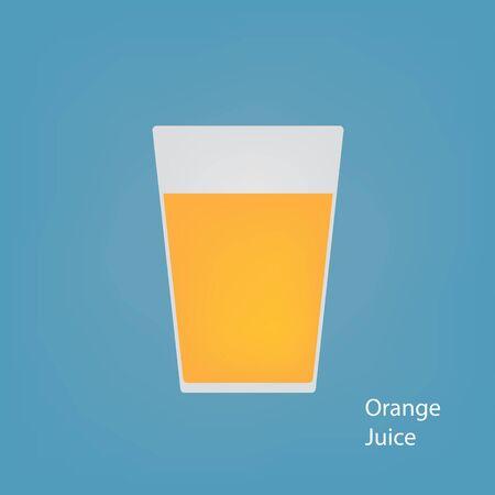 Glass with orange juice- vector illustration