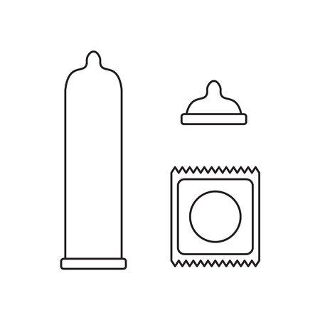 latex condom icons set Illustration