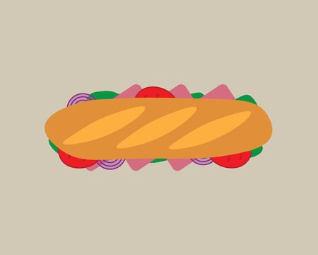 sandwich with ham, onion, tomato, lettuce- vector illustration