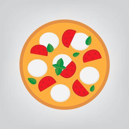 pizza au fromage mozzarella, tomate et basilic - illustration vectorielle