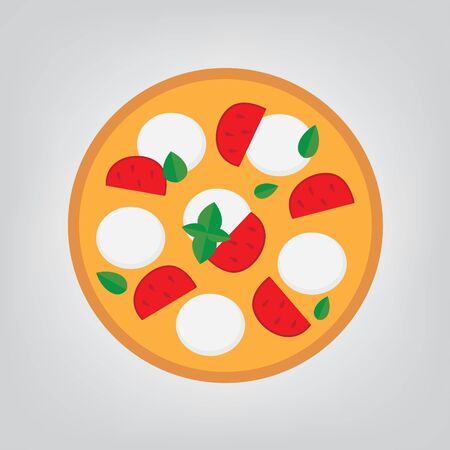 pizza with mozzarella cheese, tomato and basil - vector illustration Illustration