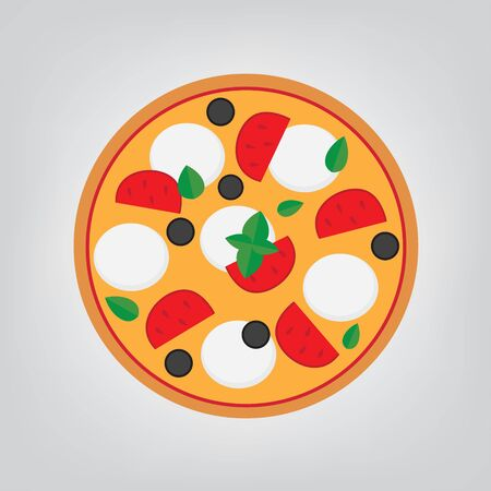 pizza margherita with mozzarella cheese, tomato, olives and basil- vector illustration