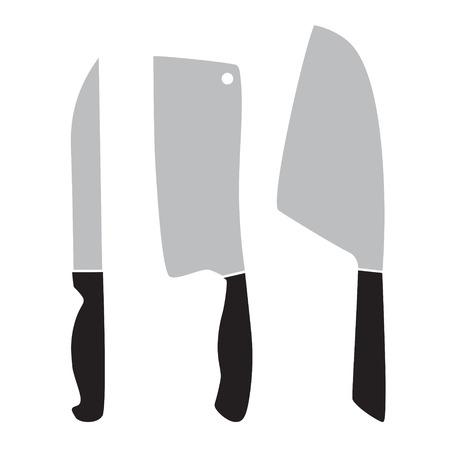 butcher knives set- vector illustration