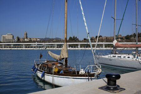 beautifully located seaside promenade Passeo del Muelle Uno in Malaga, Costa del Sol, Spain Stock Photo