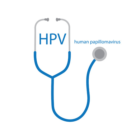 HPV Human Papillomavirus text and stethoscope icon- vector illustration