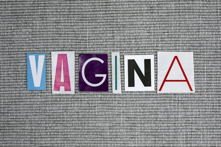 vagina word on gray background