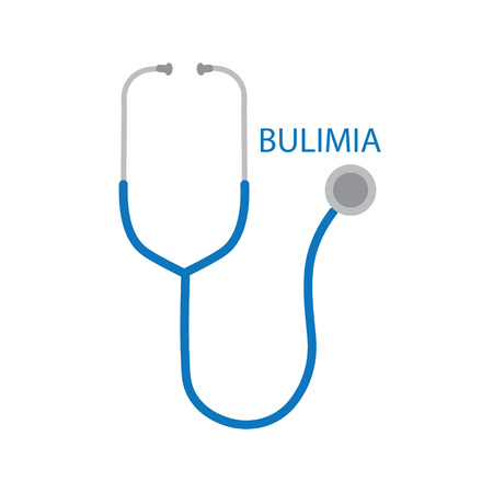 Bulimia word and stethoscope icon- vector illustration