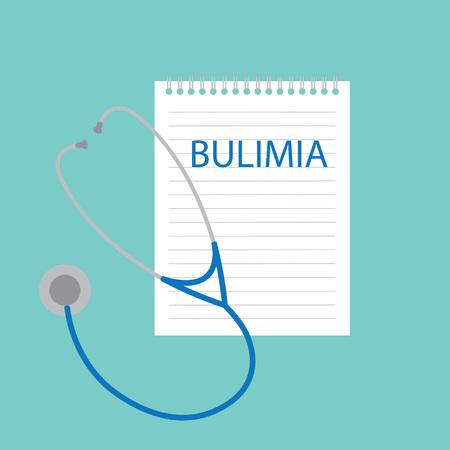 Bulimia written in notebook- vector illustration Illustration