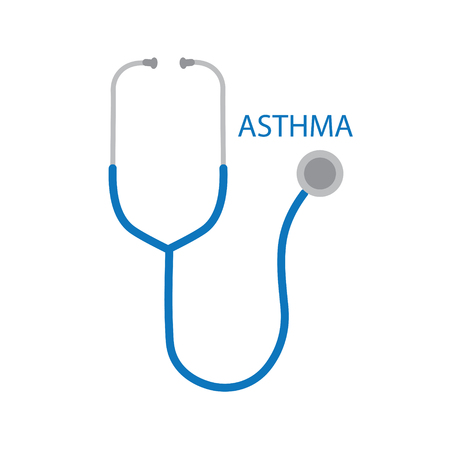 Asthma word and stethoscope icon- vector illustration