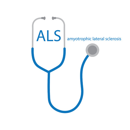 Amyotrophic Lateral Sclerosis, ALS text and stethoscope icon- vector illustration Ilustração