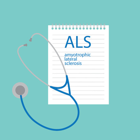 A L S Amyotrophic Lateral Sclerosis written in notebook- vector illustration Vector Illustration