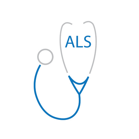 A L S (Amyotrophic Lateral Sclerosis) acronym and stethoscope icon