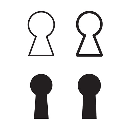 Set van zwarte sleutelgat pictogram vectorillustratie.