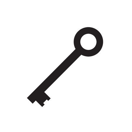 Black key icon vector illustration.