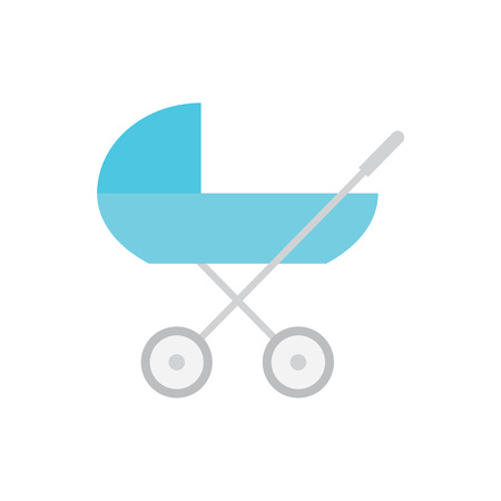Blue baby carriage, pram icon- vector illustration