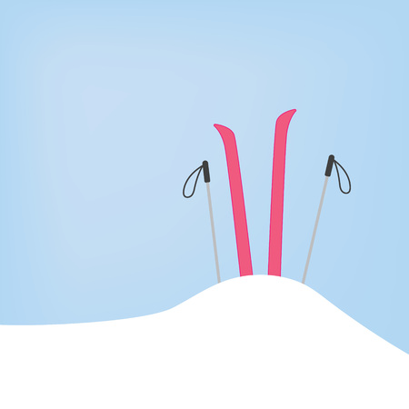 Skis and poles in snowdrift- vector illustration