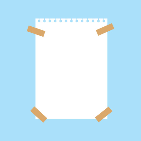 notebook white paper sheet pined with sticky tape- vector illustration