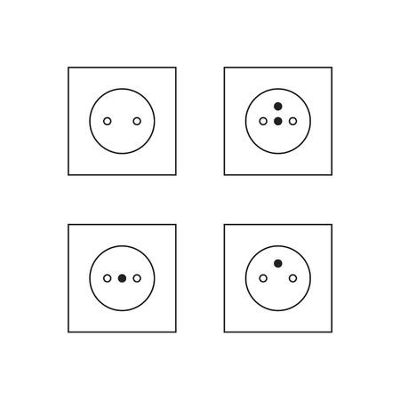 Set van stopcontact pictogrammen. Stock Illustratie
