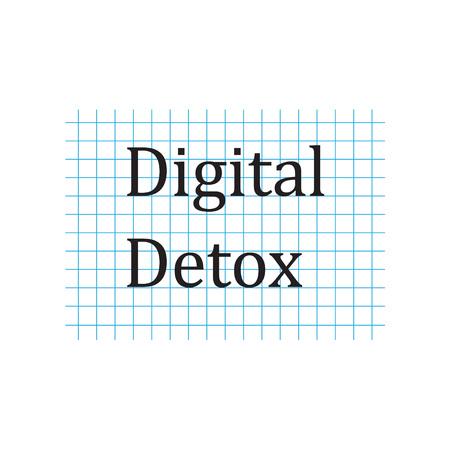 Digital Detox written on checkered paper sheet- vector illustration