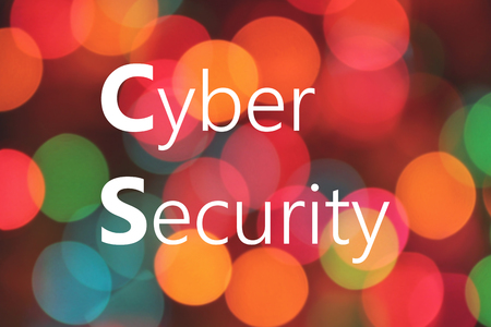 Cyber ??Security written on colorful bokeh background Banque d'images