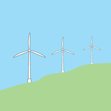 A windmills on green field vector illustration