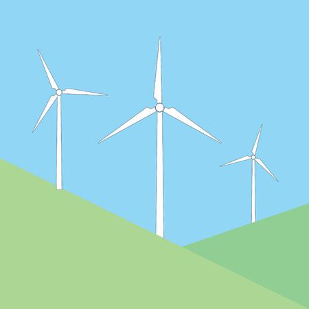 A windmills on the hill vector illustration Illustration