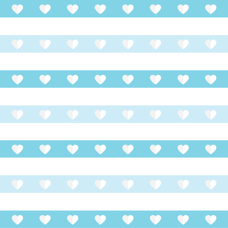 blue stripes with hearts pattern- vector illustration