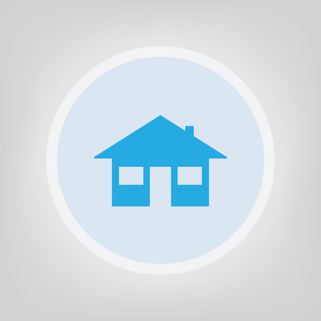 A home icon vector illustration isolated on gray background.