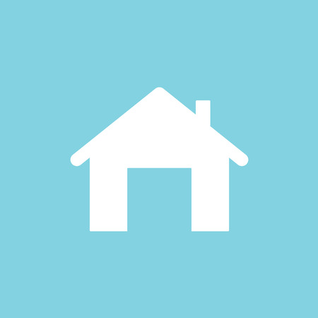 white home icon on blue background - vector illustration