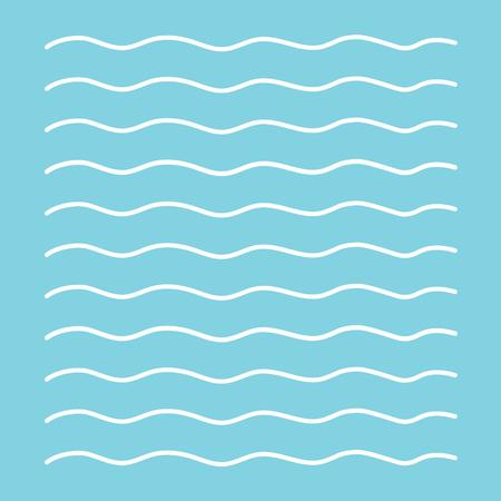 White waves on blue background