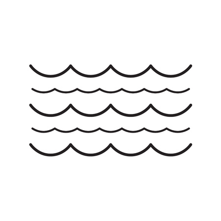 A black waves vector illustration isolated on white background.