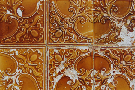orange traditional portuguese tiles named azulejos