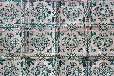 blea and white traditional portuguese tiles named azulejos