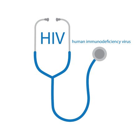 HIV (Human Immunodeficiency Virus) acronym and stethoscope icon- vector illustration