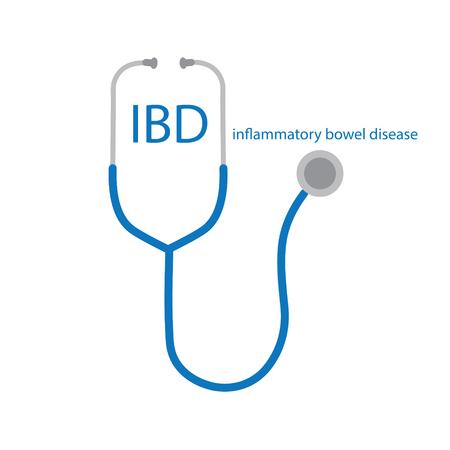IBD Inflammatory Bowel Disease text and stethoscope icon- vector illustration