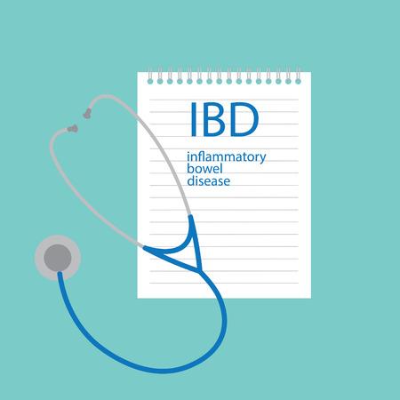 IBD Inflammatory Bowel Disease written in notebook- vector illustration
