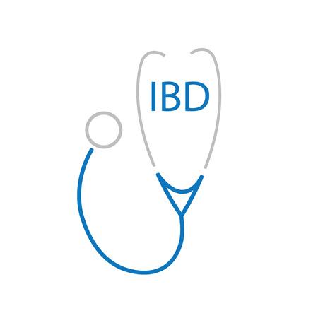 IBD (Inflammatory Bowel Disease) acronym and stethoscope icon- vector illustration