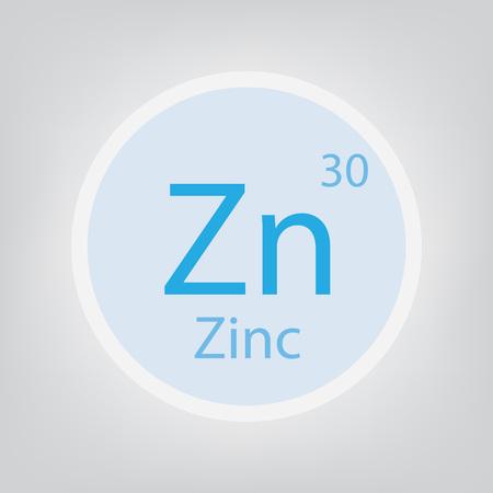Zinc, Zn chemical element icon illustration.