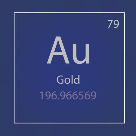 Gold Au chemical element icon- vector illustration
