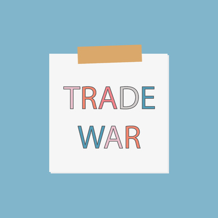Trade war written in notebook paper vector illustration