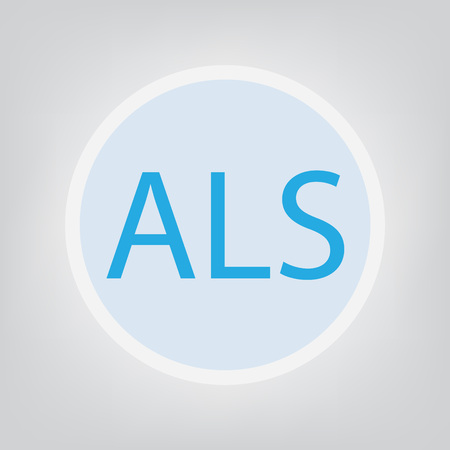 ALS (Amyotrophic Lateral Sclerosis) acronym- vector illustration