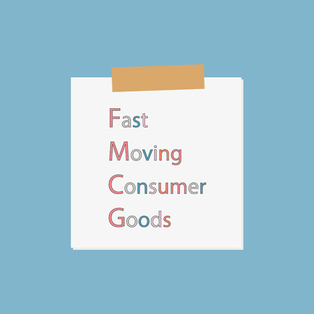 FMCG - Fast Moving Consumer Goods written in notebook paper- vector illustration