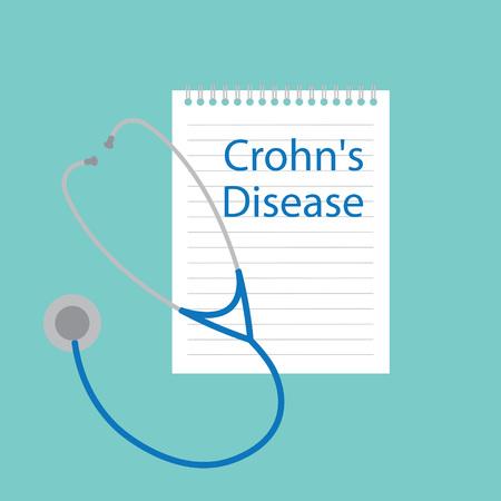 Crohns disease written in notebook- vector illustration Illustration