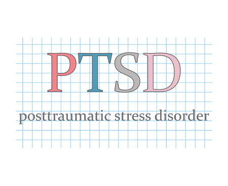 PTSD Posttraumatic Stress Disorder on checkered paper sheet- vector illustration