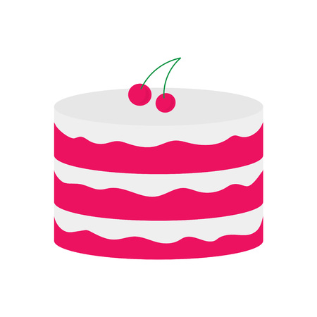 Fruit cake with cherry fruits on the top- Vector illustration.